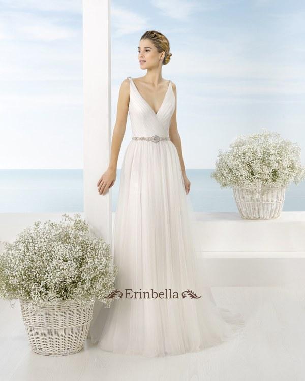 ウェディングドレス Vカット スレンダーライン 花嫁 結婚式 二次会 披露宴 ブライダル TW1013