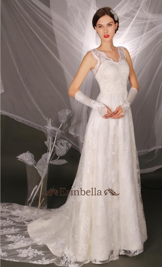 【簡単オーダーメイド】ウェディングドレス Aライン エンパイア 結婚式 披露宴 二次会 パーティ デコルテ Vカット ウェディングドレス ウェディングドレス スレンダーライン (TW0436)