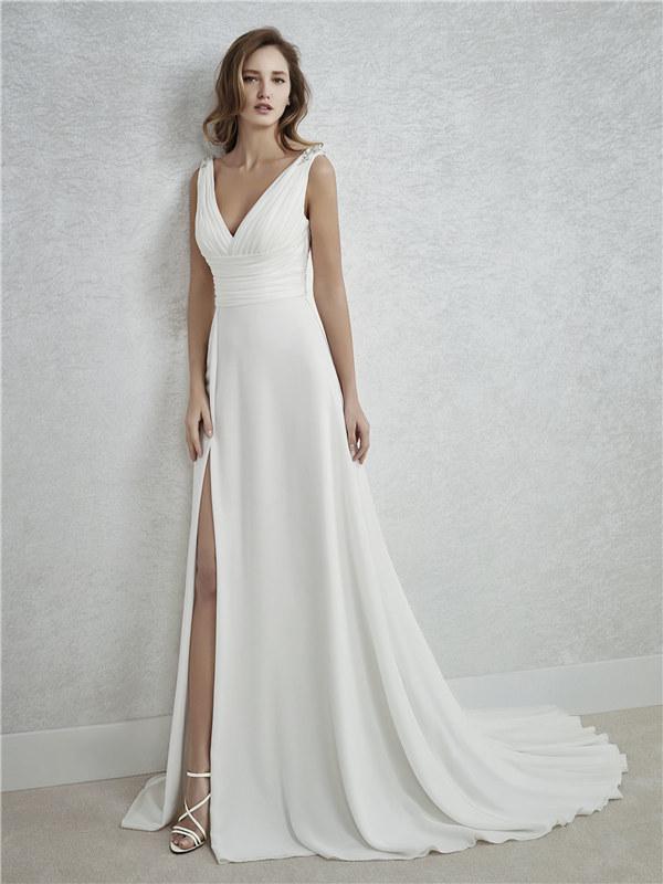 ウェディングドレス Vネック スレンダーライン スレンダー サイズオーダー