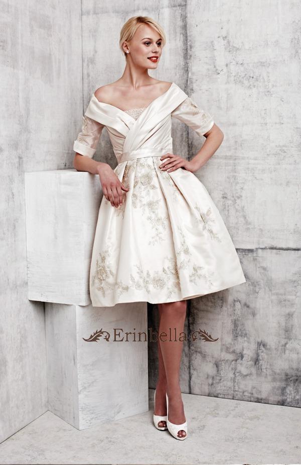 【簡単オーダーメイド】ウェディングドレス Aライン プリンセス エンパイア 結婚式 披露宴 二次会 パーティ ミニドレス ウェディングドレス ウェディングドレス オフショルダー ミニ ショートドレス (TW0206)