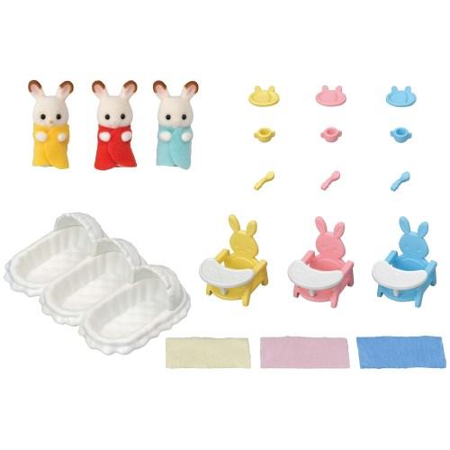 シルバニアファミリー セ-204 ショコラウサギのみつごちゃんお世話セットおもちゃ こども 子供 女の子 人形遊び 3歳