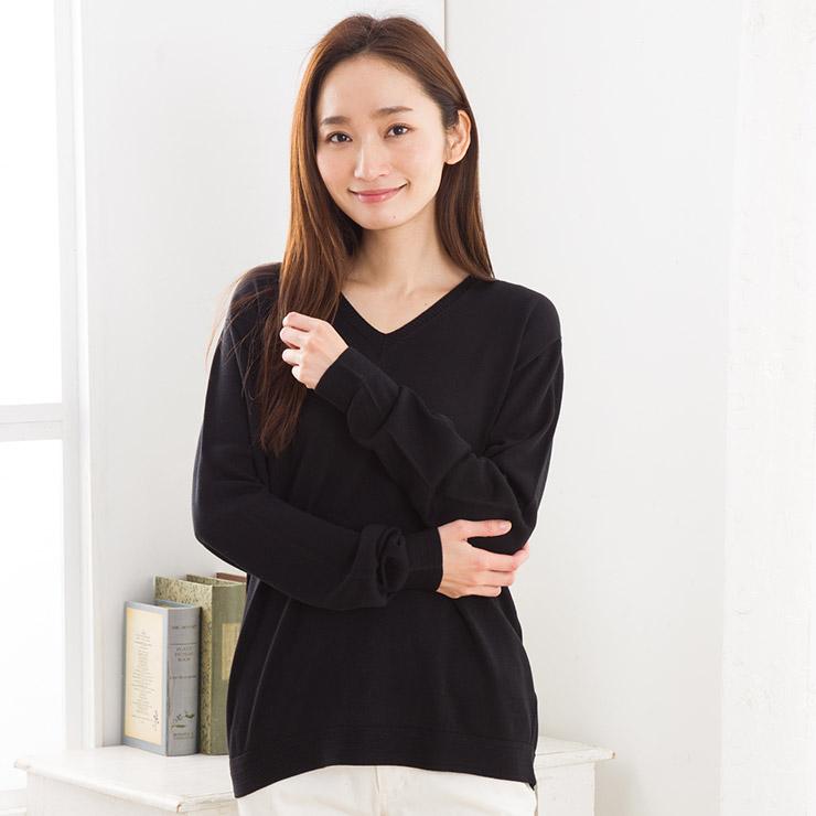 シルク100% Vネック 長袖 ニット 日本製 レディース 縫い目のないホールガーメント ネイビー紺 ブラック黒 エクリュ M-L