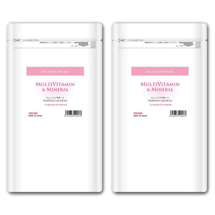 ノラ・コーポレーション 国産ビタミンサプリメント 酵母フリー NutriSupport マルチビタミン & ミネラル 180カプセル 2個セット