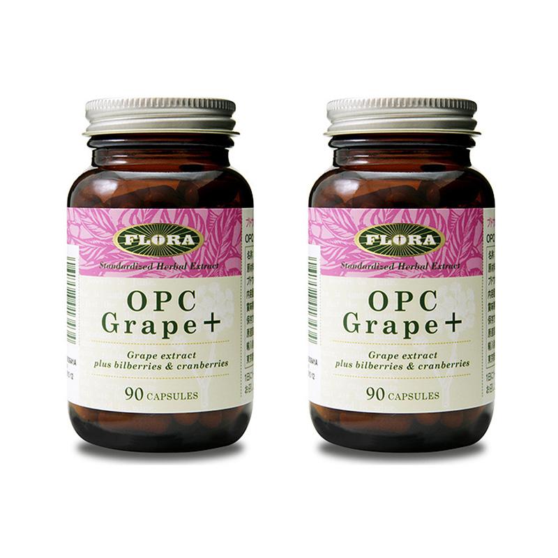 OPC Grape+ OPCグレープ+ 90カプセル 2個セット ポリフェノール含有サプリメント FLORA フローラ
