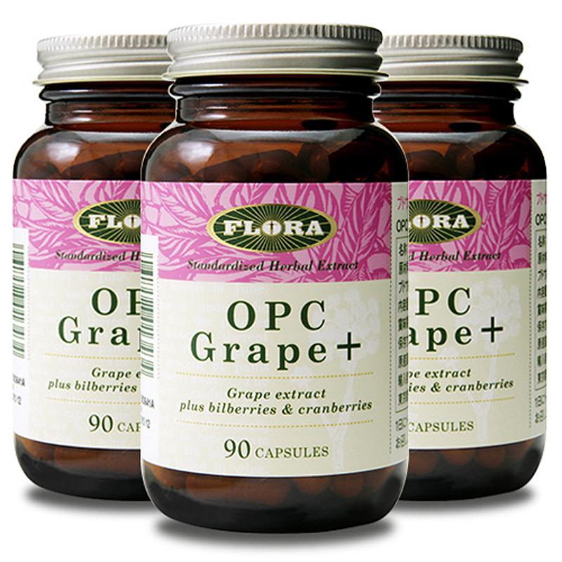 OPC Grape+ OPCグレープ+ 90カプセル 3個セット ポリフェノール含有サプリメント FLORA フローラ
