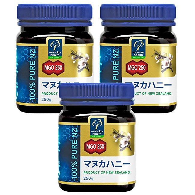 MANUKA HEALTH マヌカヘルス ニュージーランド産はちみつ マヌカハニー MGO250+ 250g 日本語表示ラベル 3個セット