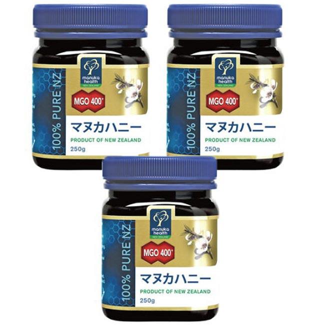 MANUKA HEALTH マヌカヘルス ニュージーランド産はちみつ マヌカハニー MGO400+ 250g 日本語表示ラベル 3個セット