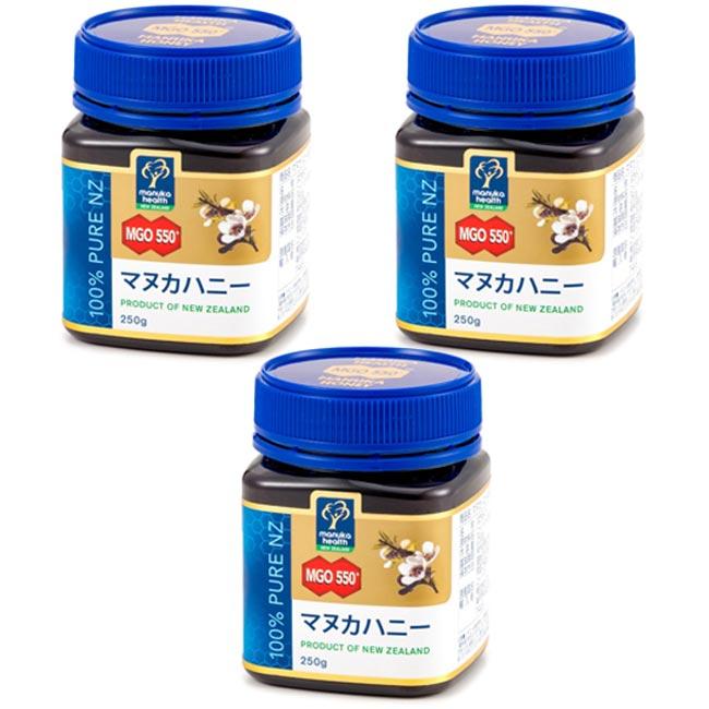 MANUKA HEALTH マヌカヘルス ニュージーランド産はちみつ マヌカハニー MGO550+ 250g 日本語表示ラベル 3個セット