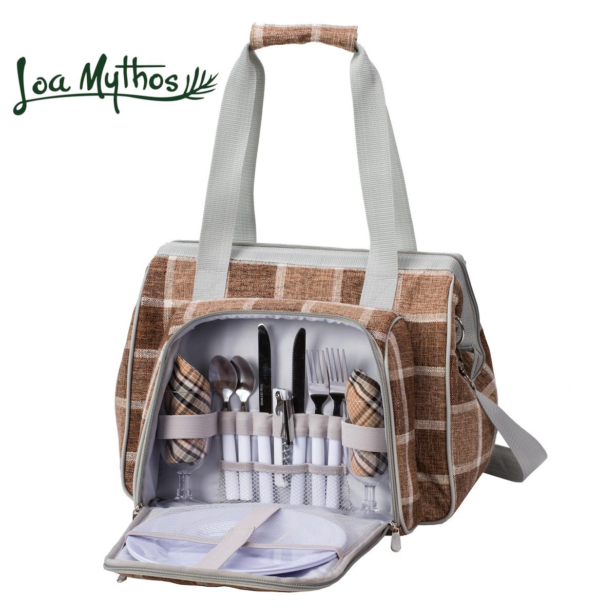 【送料無料】[キャッシュレス還元5%]アウトドア 食器 カトラリー ピクニック セット キャンプ 保冷バッグ クーラーバッグ オシャレ LoaMythos ロアミトス オールインワン・ピクニック 2way ショルダーバッグ(2人用)