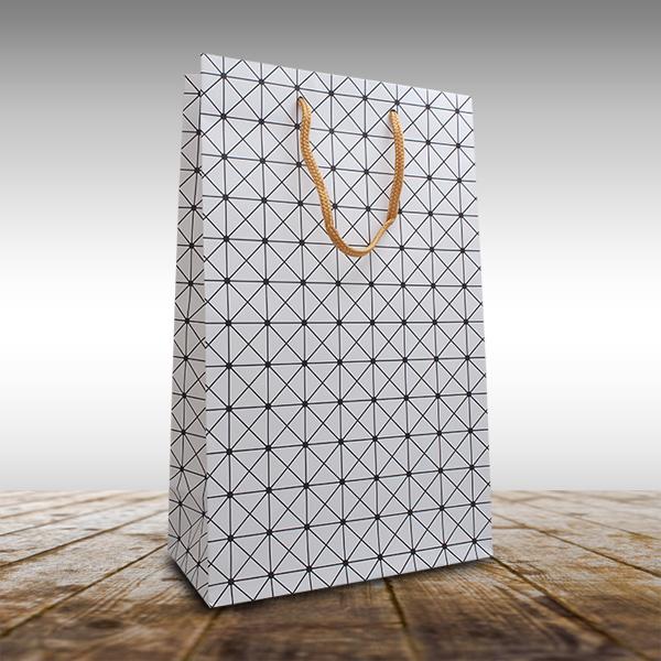 お得なキャンペーンを実施中 紙袋 ラッピング ギフトボックスサイズ対応 白色 年間定番 格子柄 ワイン2本用紙袋