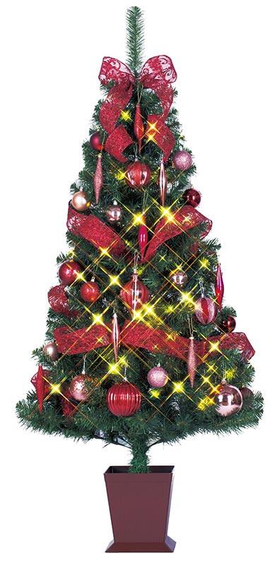 【店舗・イベント用品】【クリスマス】【ツリー・リース】セットツリー(四角ポット付)モーブ120cm
