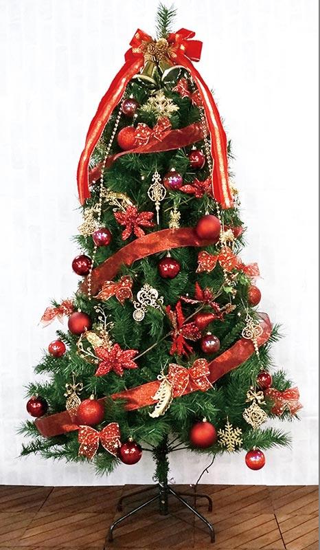 【店舗・イベント用品】【クリスマス】【ツリー・リース】150cmスリムツリーセット・レッド