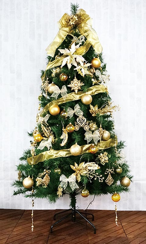 【店舗・イベント用品】【クリスマス】【ツリー・リース】150cmカナディアンツリーセット・ゴールド