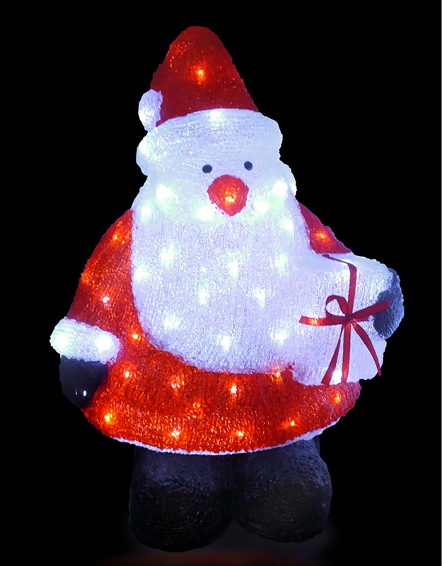 【店舗・イベント用品】【クリスマス】【モチーフライト】LEDクリスタルモチーフ・プレゼントサンタ