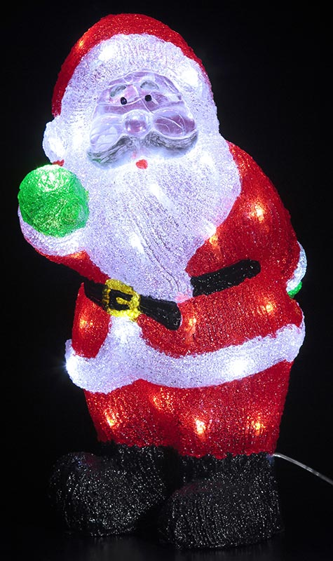 【店舗・イベント用品】【クリスマス】【モチーフライト】LEDクリスタルモチーフ・ハッピーサンタ