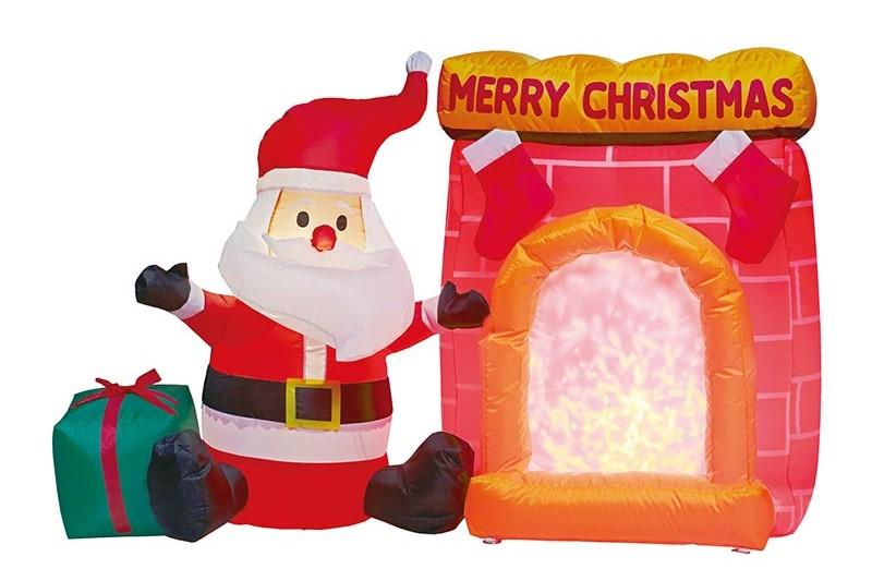【店舗・イベント用品】【クリスマス】【エアディスプレイ】エアディスコライト・サンタと暖炉