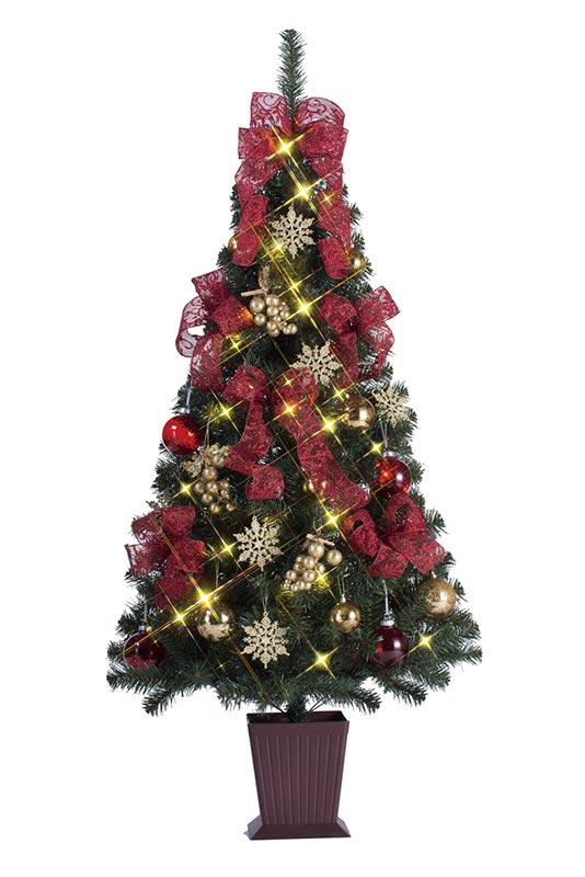 【店舗・イベント用品】【クリスマス】【ツリー・リース】セットツリー・華レッド&ゴールドクレープ150cm