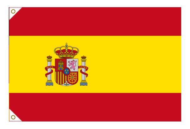 【万国旗・世界の国旗】スペイン国旗(紋入)(135cm幅/エクスラン)