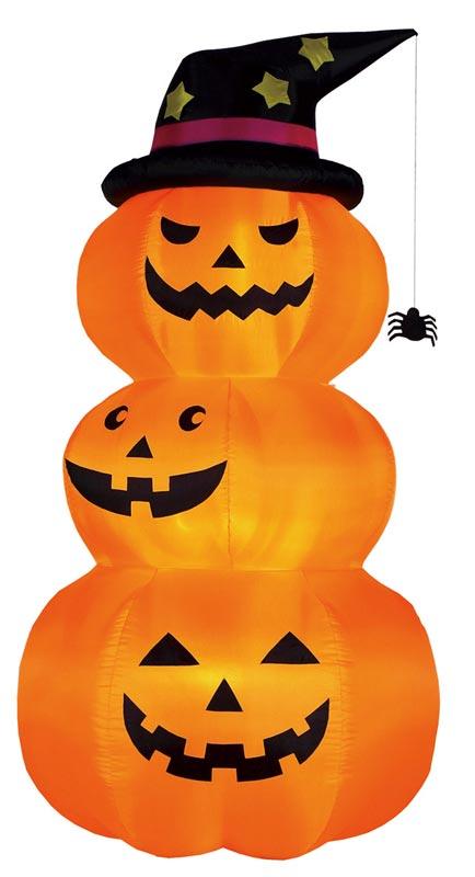 【店舗・イベント用品】【ハロウィン】エアブロウ 三連オレンジパンプキンL・240cm
