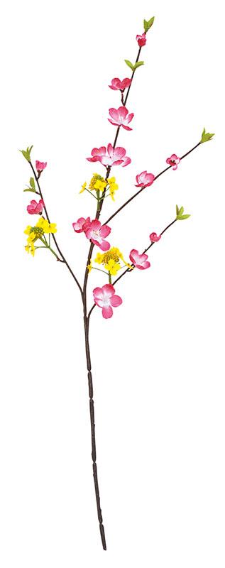 【店舗・イベント用品】【季節別ディスプレイ】【春】【ひなまつり】ミックススプレイ菜の花/桃・24本セット