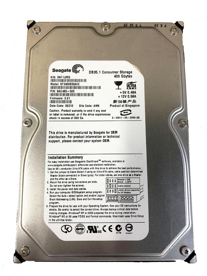 安心保障1か月 ポスト投函ですので 時間指定できません 中古 Seagate 3.5inch 内蔵ハードディスク ST3400832ACE 送料無料 U100 8MBキャッシュ 増設HDD 直営店 PATA 激安格安割引情報満載 400GB 7200rpm IDE