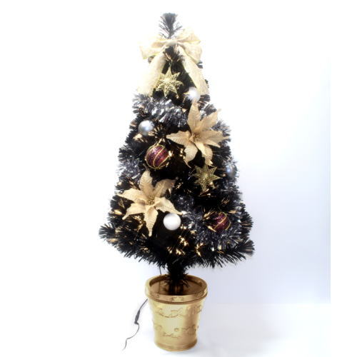 DXブラックFゴールドポインセチアツリー 150cm