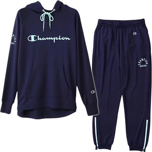 チャンピオン Champion レディース バスケットボール スウェット パーカー+パンツ ダークネイビー CW-NB150/CW-NB255