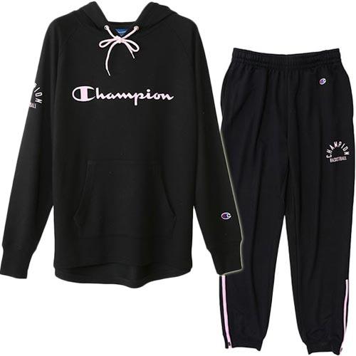 チャンピオン Champion レディース バスケットボール スウェット パーカー+パンツ ブラック CW-NB150/CW-NB255