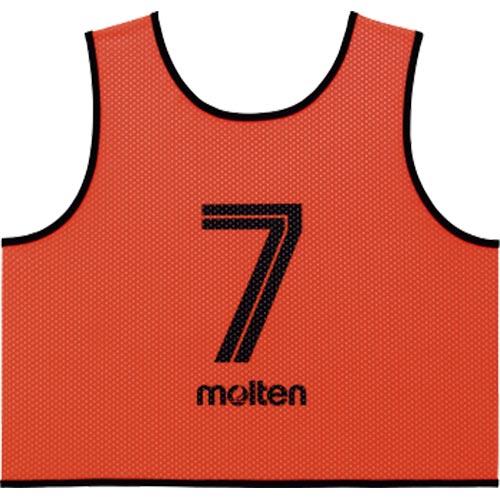 モルテン molten サッカー フットサル ゲームベスト GV 10枚セット 番号2~11 蛍光オレンジ GS0113-KO