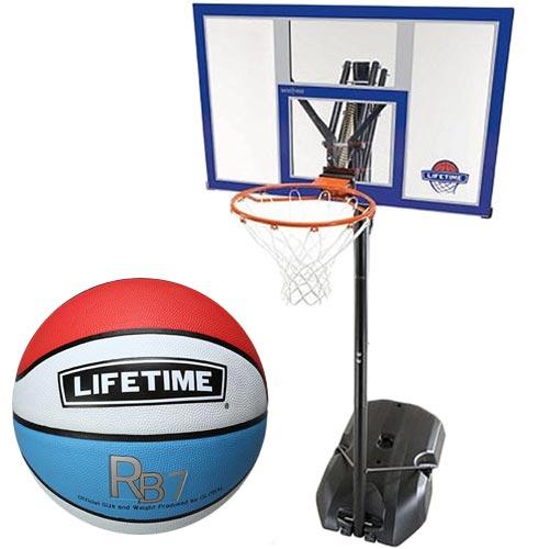 【特殊送料】ライフタイム LIFE TIME バスケットゴール+ボールリターン+7号ボールセット LT-90000RE