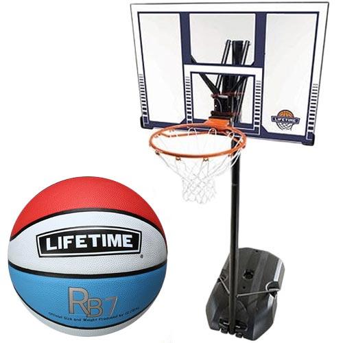 【特殊送料】ライフタイム LIFE TIME バスケットゴール+ボールリターン+7号ボールセット LT-90001RE