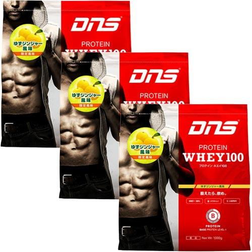 ディーエヌエス DNS プロテインホエイ100 ゆずジンジャー風味 1000g 1kg 3個セット D11001381502
