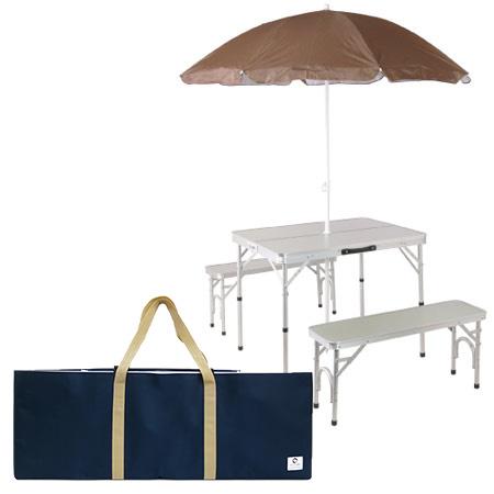 パラソル付き アウトドア 折りたたみテーブル 収納袋 チェアセット ピクニックテーブルセット シルバー ALPT-90P