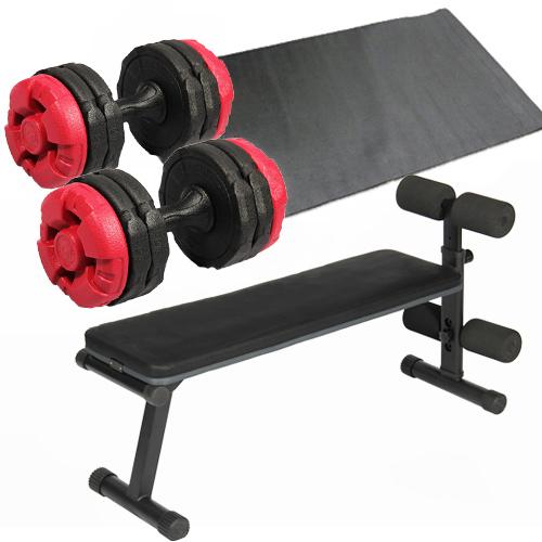 ダンベルトレーニング4点セット:フラットベンチ アーミーダンベル レッド10kg×2個 保護マット