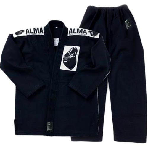 【受注生産品】アルマ ALMA 国産柔術着 A4 黒 上下セット JU1-A4-BK
