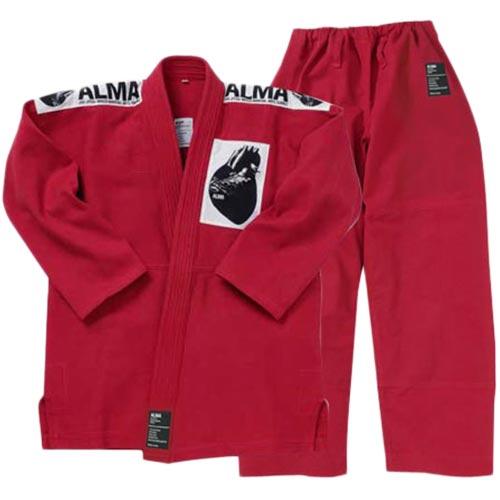 【受注生産品】アルマ ALMA 国産柔術着 A4 赤 上下セット JU1-A4-RD