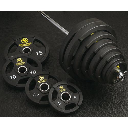 【特殊送料】マーシャルワールド MARTIAL WORLD ポリウレタンオリンピックバーベルセット 60kg UB60