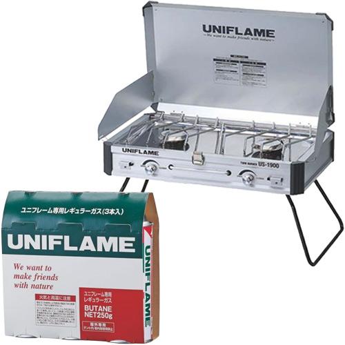 新しいブランド ユニフレーム UNIFLAME 650028 2点セット 2点セット ツインバーナーUS-1900 610305 3本& ユニフレーム専用レギュラーガス 3本 650028, ライパラ!:81fd63d3 --- canoncity.azurewebsites.net