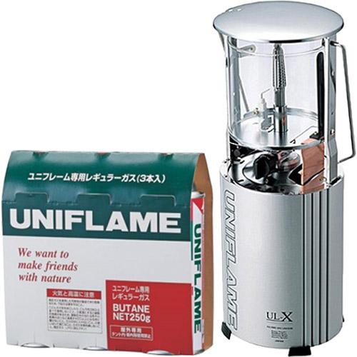ユニフレーム UNIFLAME 2点セット フォールディングガスランタン UL-X クリア 620106 & ユニフレーム専用レギュラーガス 3本 650028 キャンプ ランタン カセットガス ガスランタン アウトドア