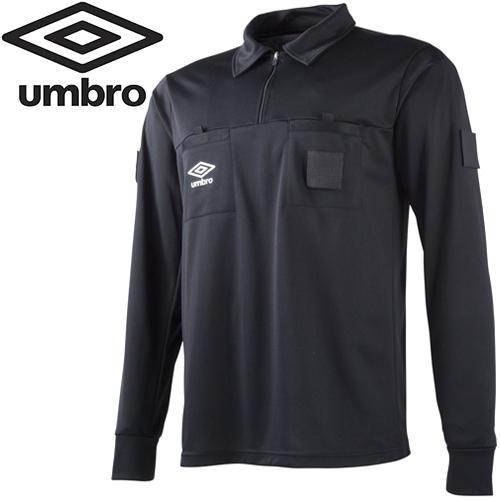 フットサル トレーニングウェア レフェリー 長袖 アンブロ UMBRO サッカー 審判 L/S レフリーシャツ ブラック UAS6608L BLK