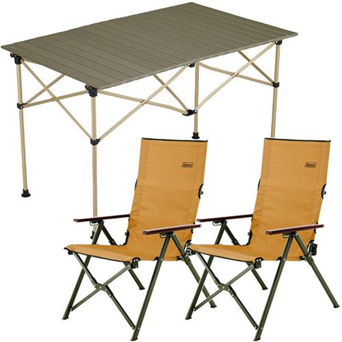 コールマン Coleman キャンプ イージーロール 2ステージテーブル/110 オリーブ & ファイアープレイス レイチェア サンド ×2脚セット