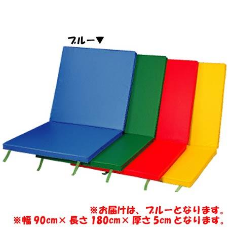【受注生産品】【特殊送料】三和体育 SANWATAIKU 室内外兼用軽量2ツ折カラーマット スベリ止付 90×180×5 ブルー S-9214