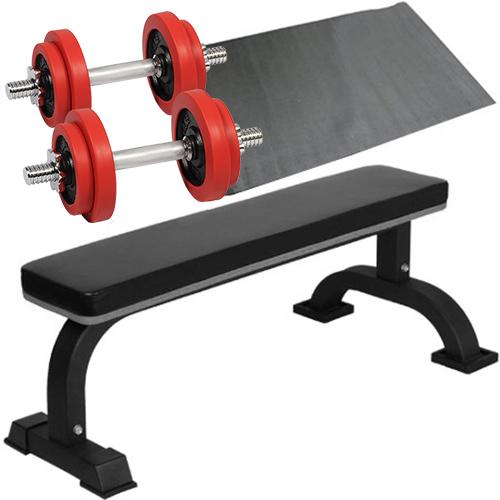 ダンベルトレーニング 4点セットB レッド 10kg フラットベンチ ラバーダンベル 10kg 2個セット 保護マット