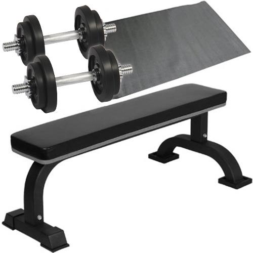 ダンベルトレーニング 4点セットB ブラック 10kg フラットベンチ ラバーダンベル 10kg 2個セット 保護マット