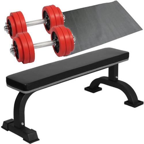 ダンベルトレーニング 4点セットB レッド 15kg フラットベンチ ラバーダンベル 15kg 2個セット 保護マット