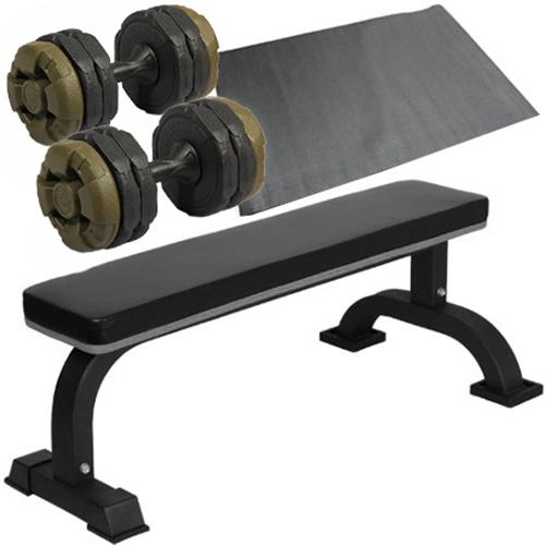 ダンベルトレーニング4点セットB:アーミーグリーン10kg 固定式フラットベンチ ダンベル10kg 2個 保護マット