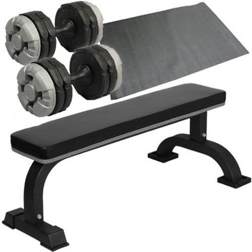 ダンベルトレーニング4点セットB:保護マットブラック10kg 固定式フラットベンチ ダンベル10kg 2個 保護マット