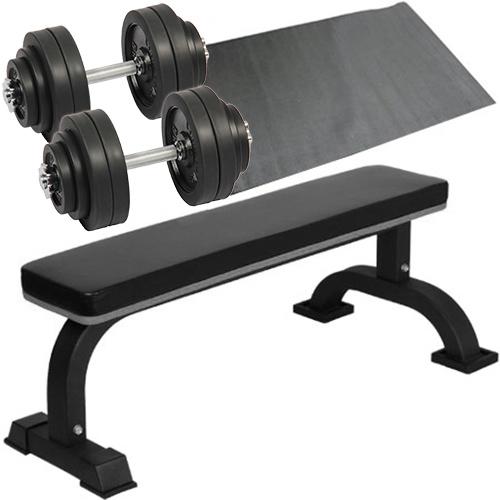 ダンベルトレーニング 4点セットB ブラック 30kg フラットベンチ ラバーダンベル 30kg ×2個セット 60kg 保護マット セット