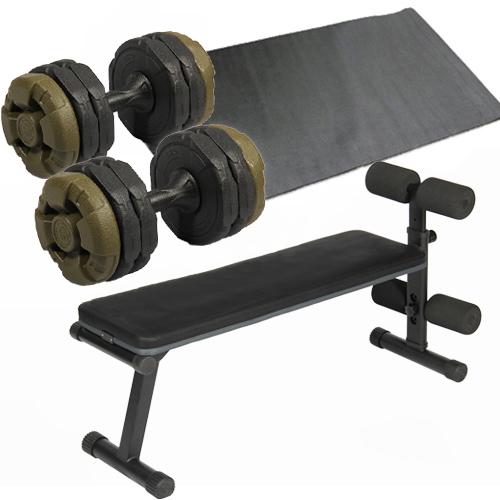 【激安アウトレット!】 ダンベルトレーニング4点セット:アーミーグリーン フラットベンチ マット 2個セット アーミーダンベル10kg 2個セット マット, 北九州市:895267fb --- clftranspo.dominiotemporario.com