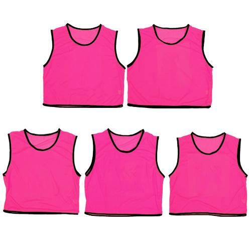 ビブス ジュニア用 無地 5枚セット メッシュバッグ入り ゲームベスト ピンク